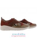chaussures sport à lacets en cuir marron doré pour femme ninia mephisto