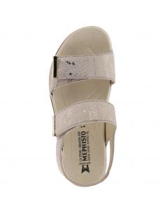 sandale compensée large et confortable pour femme mephisto mobils benita en cuir beige