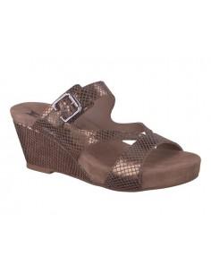 sandale compensée confortable gilie mephisto femme en nubuck cognac
