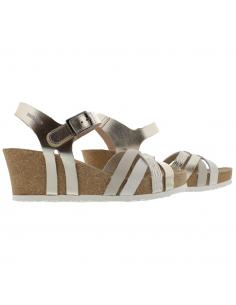 sandales compensée mephisto engelina femme en cuir boa gris