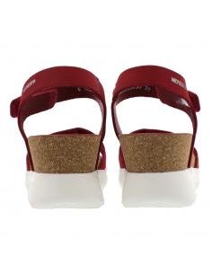 Sandale compensée mobils Penny perf cuir rouge