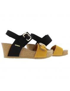 Chaussures sport de marche pour femme en cuir velouté noir - Isaline MEPHISTO Sano