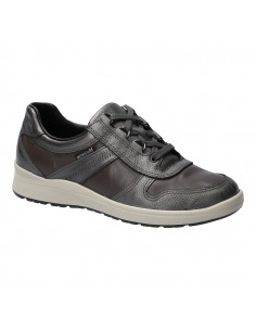Chaussure compensée à scratch Branda en cuir bleu et noir