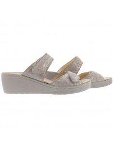 Sandale Mobils large et confortable pour femme - Tamia Mephisto en cuir jaune et argent